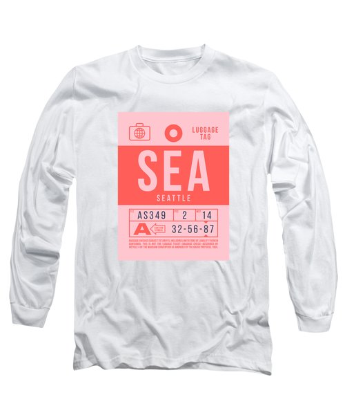 Retro Airline Luggage Tag 2.0 - Sea Seattle Tacoma Airport United States Long Sleeve T-Shirt