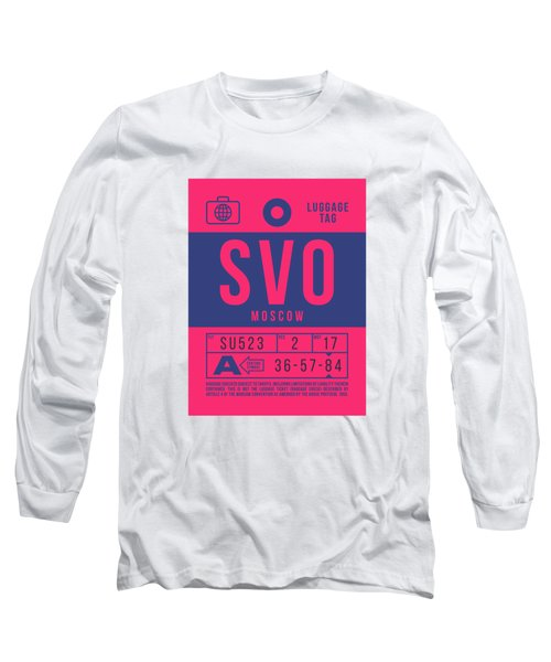 Retro Airline Luggage Tag 2.0 - Svo Moscow Sheremetyevo Airport Russia Long Sleeve T-Shirt