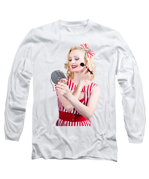 Retro Pin-up Woman Doing Beauty Make-up Long Sleeve T-Shirt