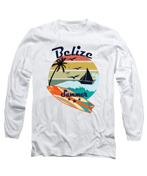 Retro Vintage Belize Gift Summer Vacation  Long Sleeve T-Shirt