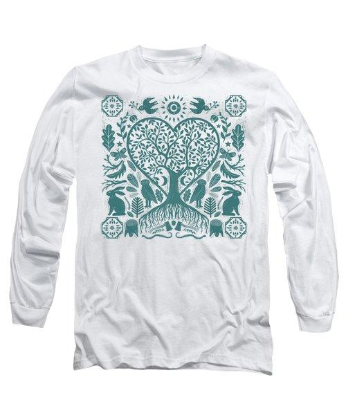 Rustic Early American Tree Of Life Woodcut Long Sleeve T-Shirt