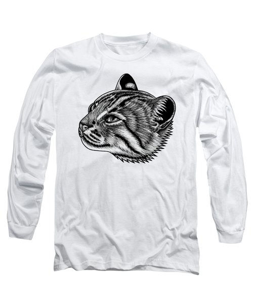 Rusty Spotted Cat Illustration Long Sleeve T-Shirt