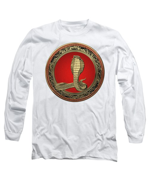 Sacred Gold King Cobra On White Leather Long Sleeve T-Shirt