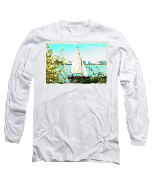 Sailboat On The River Watercolor Long Sleeve T-Shirt