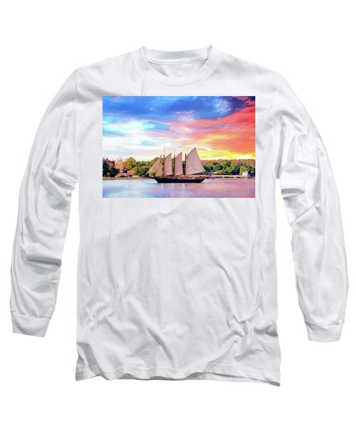 Sails In The Wind At Sunset On The York River Long Sleeve T-Shirt