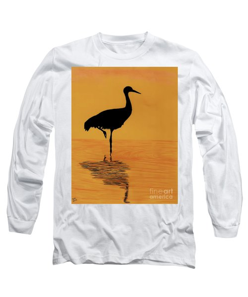 Sandhill - Crane - Sunset Long Sleeve T-Shirt