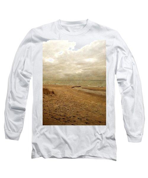 Sandy Beach At Pier Cove Long Sleeve T-Shirt