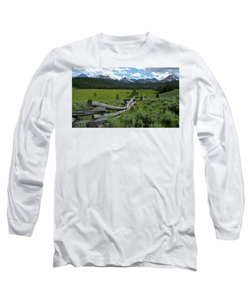 Sawtooth Range And 1975 Pole Fence Long Sleeve T-Shirt