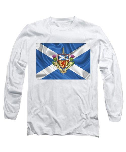 Scotland Forever - Alba Gu Brath - Symbols Of Scotland Over Flag Of Scotland Long Sleeve T-Shirt
