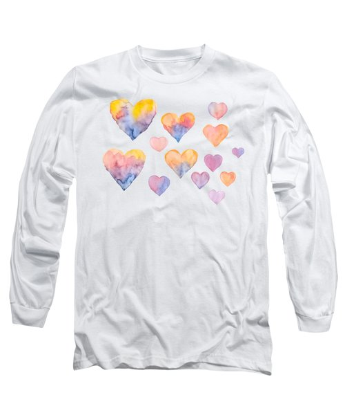 Set Of Colorful Hearts By Watercolor Long Sleeve T-Shirt