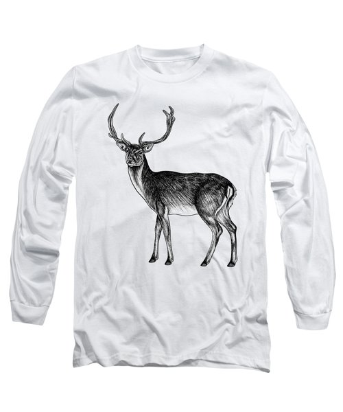 Sika Deer Stag - Ink Illustration Long Sleeve T-Shirt