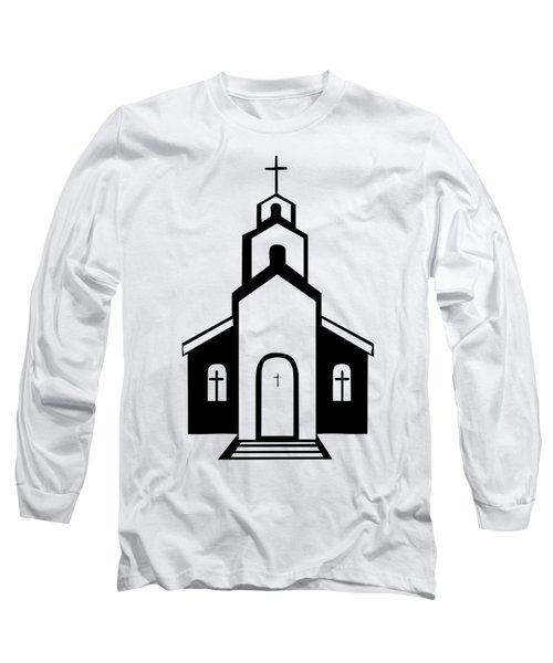 Silhouette Of A Christian Church Long Sleeve T-Shirt