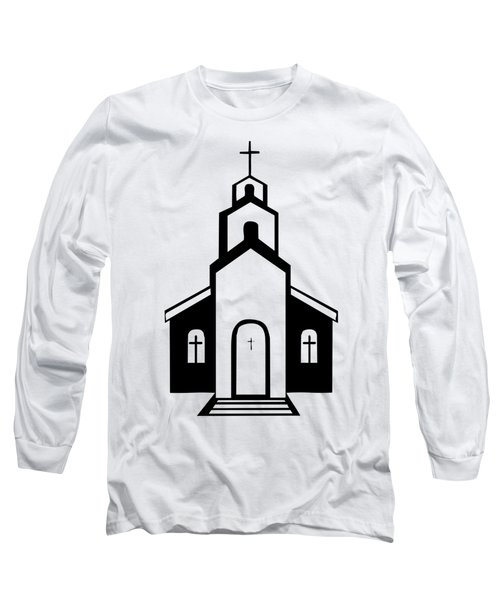 Silhouette Of A Christian Church Long Sleeve T-Shirt