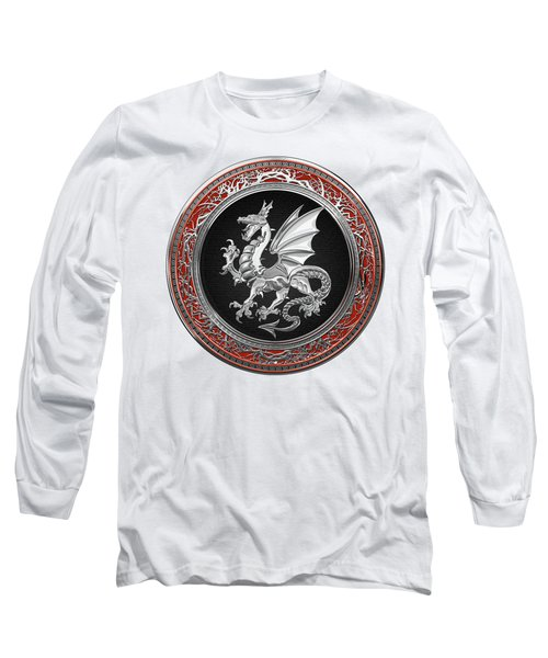Silver Winged Norse Dragon - Icelandic Viking Landvaettir On Black And Silver Medallion Over White L Long Sleeve T-Shirt
