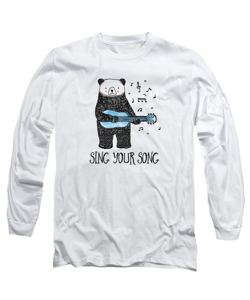 Sing Your Song - Cartoon Bear With Guitar Long Sleeve T-Shirt