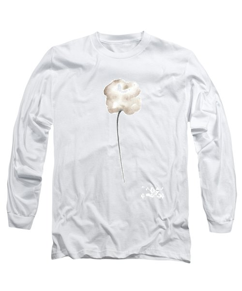 Single Sepia Cloud Poppy Leaning Right Long Sleeve T-Shirt