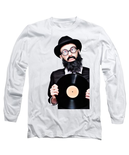Sixties Retro Rock Man Holding Music Record Vinyl Long Sleeve T-Shirt