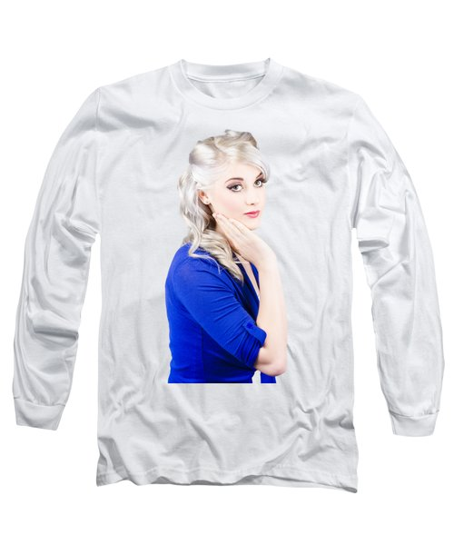 Sixties Skincare Pinup In Blue Long Sleeve T-Shirt