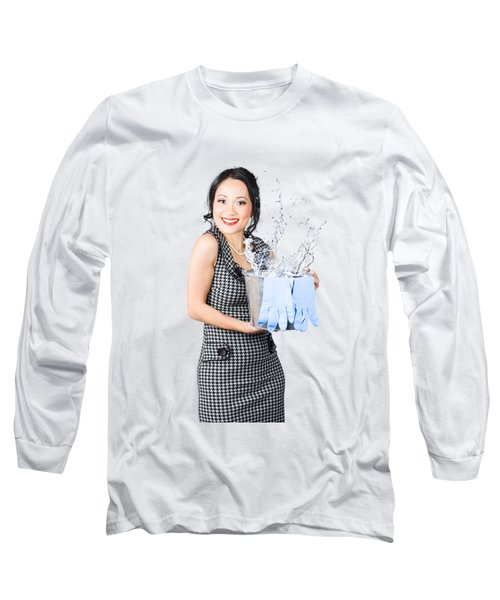 Smiling Female Cleaner Ready To Start Housework Long Sleeve T-Shirt