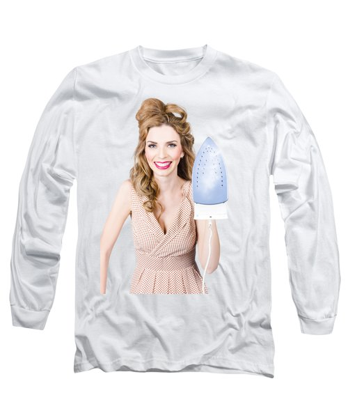 Smiling Woman With Iron. Hot Cleaning Specials Long Sleeve T-Shirt