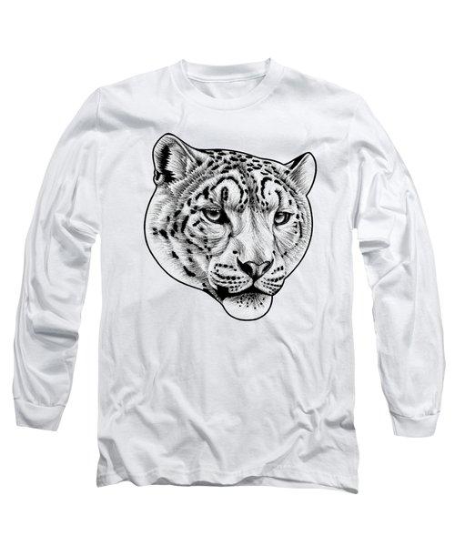 Snow Leopard - Ink Illustration Long Sleeve T-Shirt