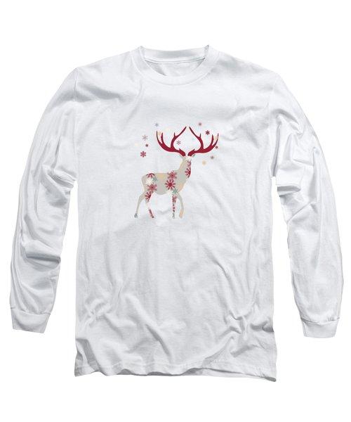 Snowflake Christmas Stag I Long Sleeve T-Shirt