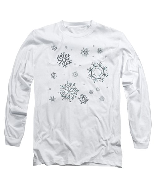 Snowflakes On Blue Long Sleeve T-Shirt