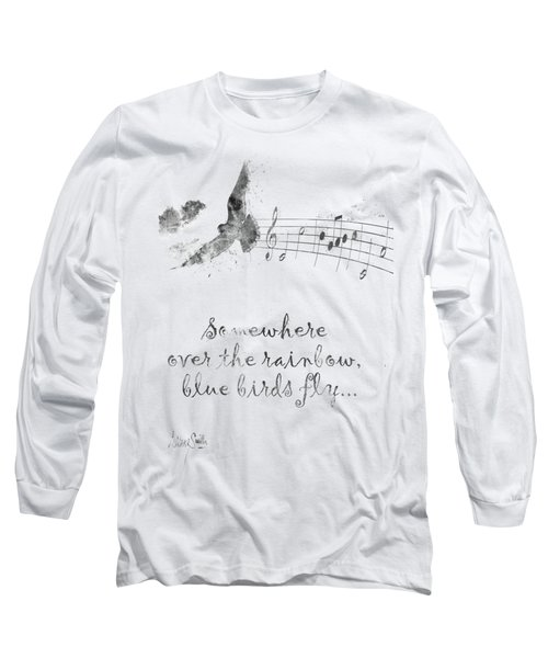 Somewhere Over The Rainbow In Black And White Long Sleeve T-Shirt