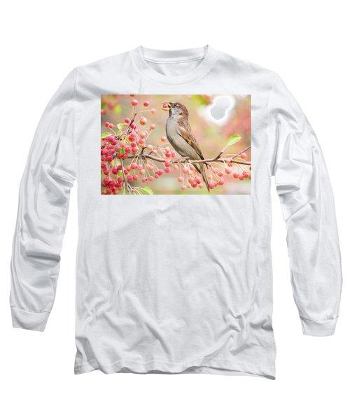 Sparrow Eating Berries Long Sleeve T-Shirt