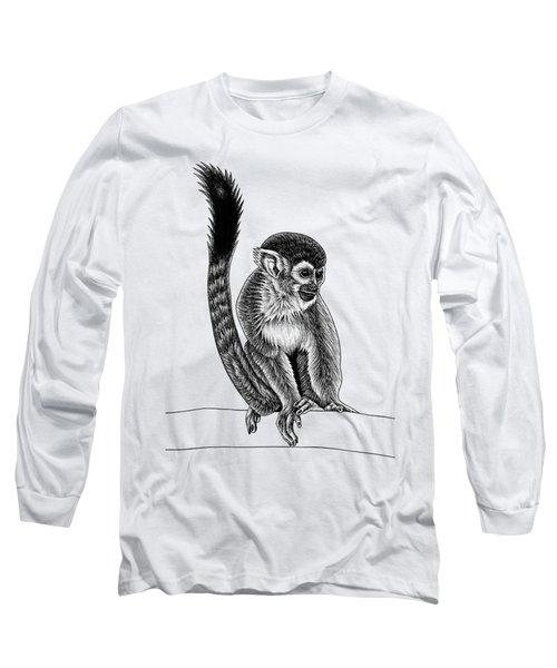 Squirrel Monkey - Ink Illustration Long Sleeve T-Shirt