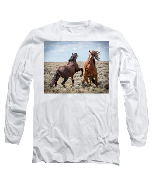Long Sleeve T-Shirt featuring the photograph Stallion Speak by Mary Hone
