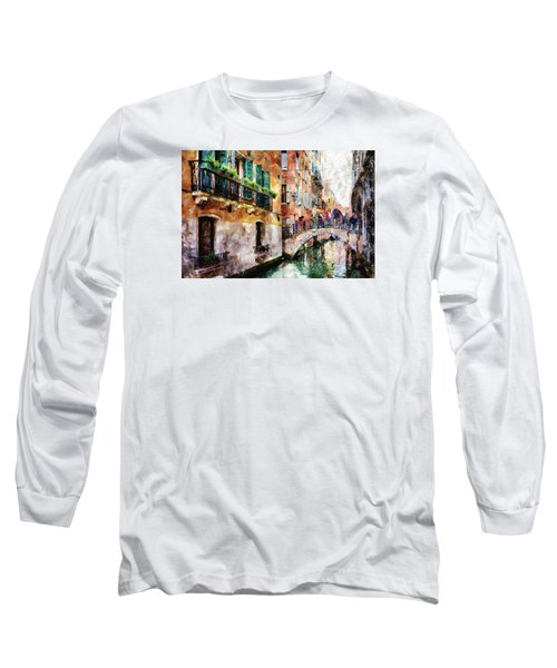 People On Bridge Over Canal In Venice, Italy - Watercolor Painting Effect Long Sleeve T-Shirt