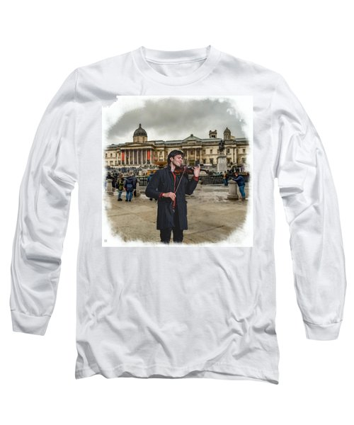 Street Music. Violin. Trafalgar Square. Long Sleeve T-Shirt