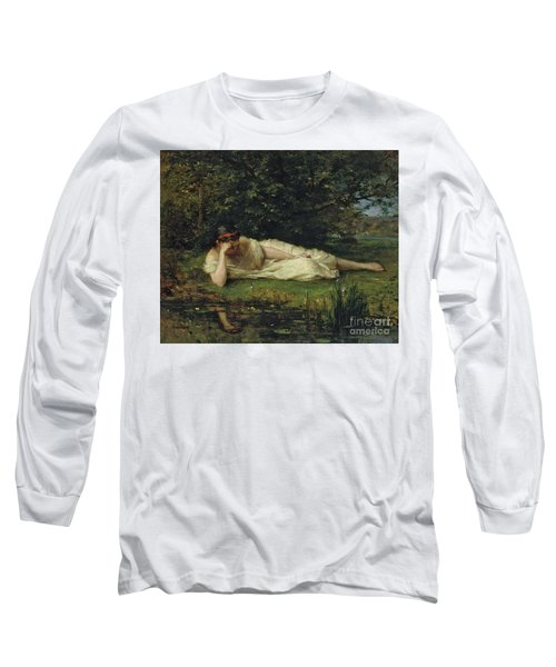 Study At The Waters Edge, 1864 Long Sleeve T-Shirt