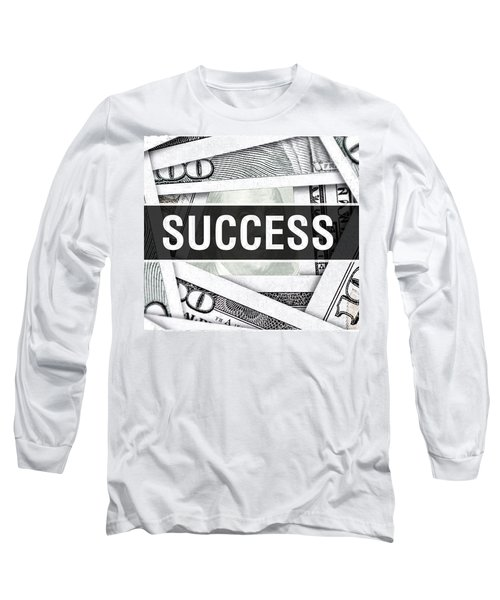 Success Closeup Concept. American Dollars Cash Money,3d Rendering. Success At Dollar Banknote Long Sleeve T-Shirt
