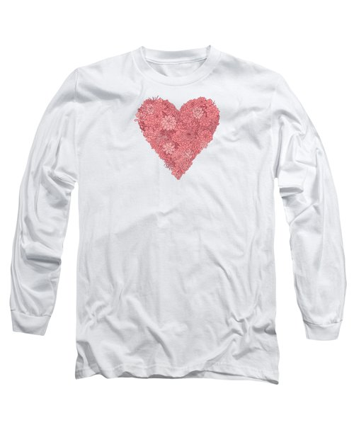 Pink Succulent Heart White Background Long Sleeve T-Shirt