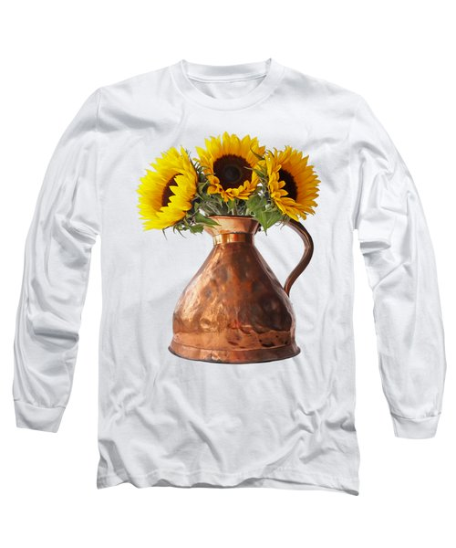 Sunflowers In Copper Pitcher On White Long Sleeve T-Shirt
