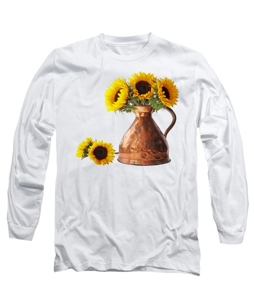 Sunflowers In Copper Pitcher On White Square Long Sleeve T-Shirt