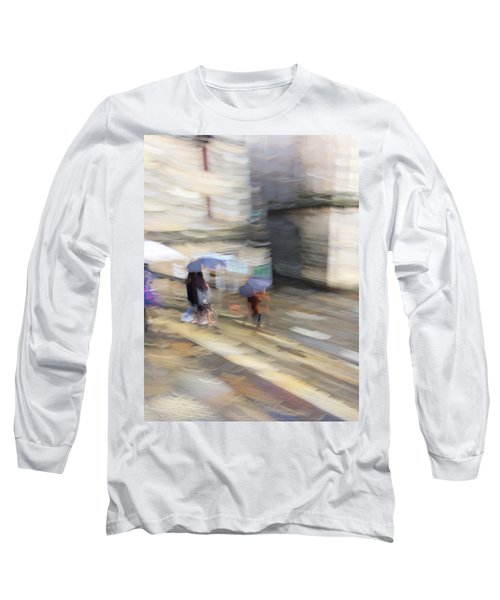 Long Sleeve T-Shirt featuring the photograph Sunshower On The Stairs by Alex Lapidus