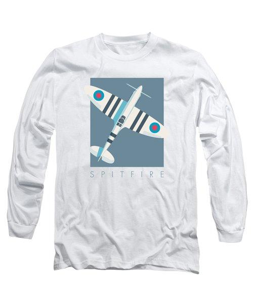 Supermarine Spitfire Fighter Aircraft - Stripe Slate Long Sleeve T-Shirt