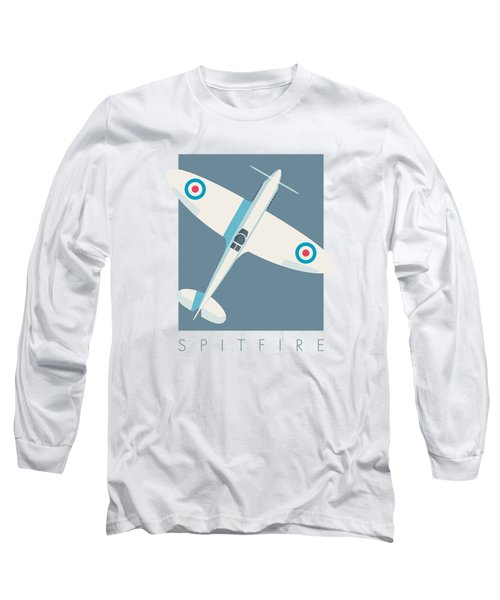 Supermarine Spitfire Wwii Fighter Aircraft - Slate Long Sleeve T-Shirt