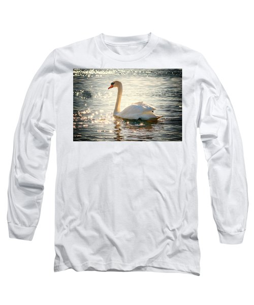 Swan On Golden Waters Long Sleeve T-Shirt