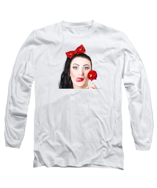Sweet Pin-up Girl Eating A Candy Toffee Apple Long Sleeve T-Shirt