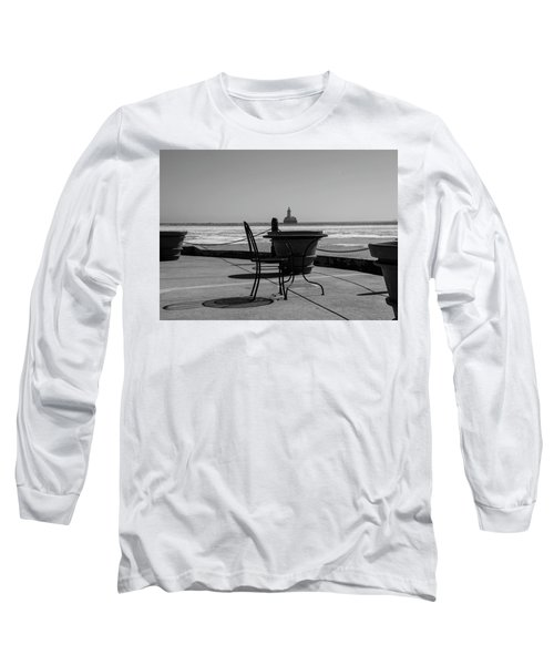 Table For One Bw Long Sleeve T-Shirt