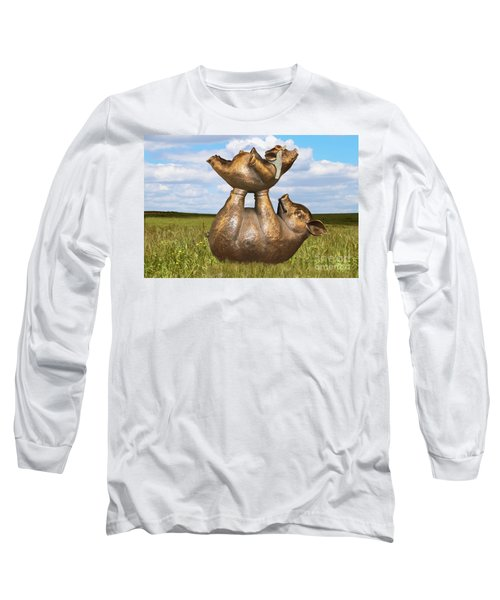 Teaching A Pig To Fly - Mother Pig In Grassy Field Holds Up Baby Pig With Flying Helmet To Teach It  Long Sleeve T-Shirt
