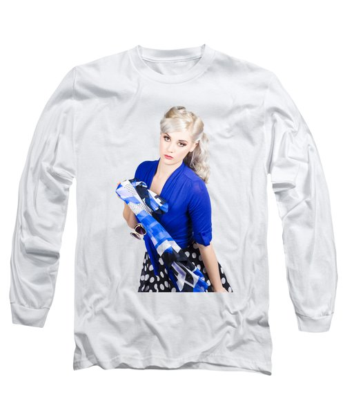 The Classic Pin-up Image. Girl In Retro Style Long Sleeve T-Shirt