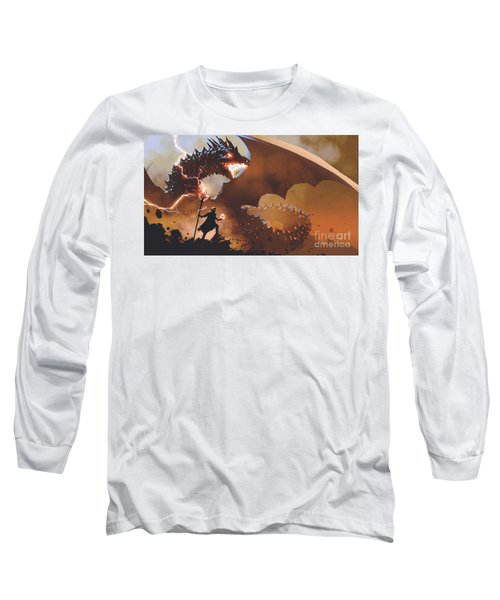 Long Sleeve T-Shirt featuring the painting The Dragon Wizard by Tithi Luadthong