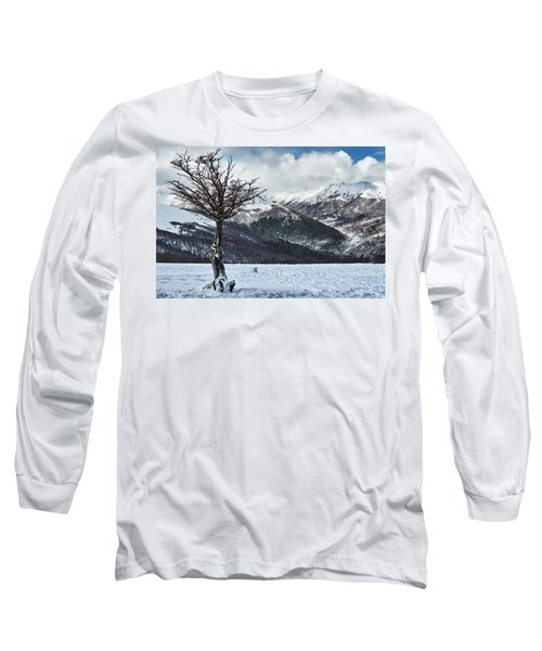 The Tree And The Beautiful Snowy Paradise Long Sleeve T-Shirt