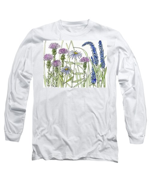 Thistle Asters Blue Flower Watercolor Wildflower Long Sleeve T-Shirt
