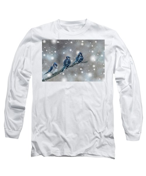 Three Blue Jays In The Snow Long Sleeve T-Shirt